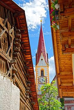Steeple of the parish church of St. Valentine, Nauders, Tyrol, Austria, Europe