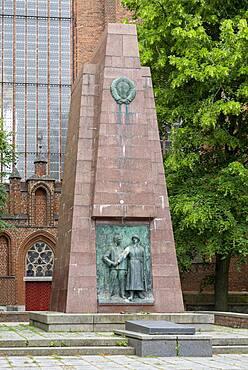 Soviet memorial in front of the Marienkirche, Stralsund, Mecklenburg-Vorpommern, Germany, Europe