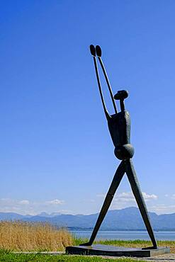 Modern sculpture by Heinrich Kirchner, Proclamation and Encounter, St. Spirit, at the marina in Seebruck, Chiemsee, Chiemgau, Upper Bavaria, Bavaria, Germany, Europe