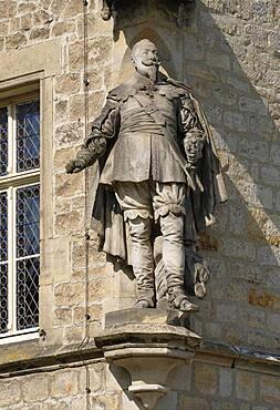 Statue of King Gustav Adolf of Sweden, Town Hall, Luetzen, Saxony-Anhalt, Germany, Europe