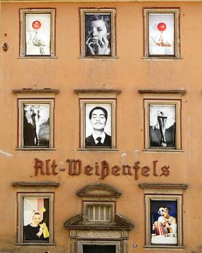 Former inn Alt-Weissenfels, photographic installations of the Merseburg University of Applied Sciences, Weissenfels, Saxony-Anhalt, Germany, Europe