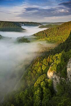 View from Eichfelsen with morning fog, sunrise, near Irndorf, Upper Danube nature Park, Upper Danube Valley, Danube, Swabian Alb, Baden-Wuerttemberg, Germany, Europe