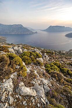 Panorama, View over Kalymnos with islands Kalavros and Telendos, Evening atmosphere, Dodecanese, Greece, Europe