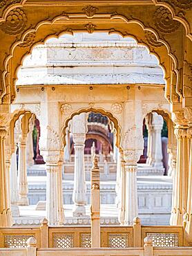OLYMPUS Devi Kund Sagar, Chattris, cremation grounds of the Maharajas of Bikaner, Bikaner, Rajasthan, CAMERA, India, Asia