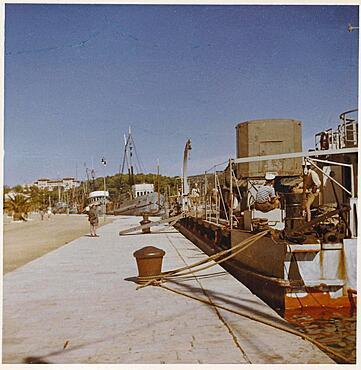 Yugoslavia in 1957, harbour of the island Rab with fishing boats, Adriatic Sea, Croatia, Europe