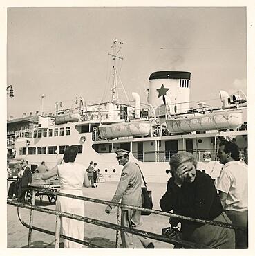 Yugoslavia in 1957: Passenger ship in the port of Rijeka, Adriatic Sea, Croatia, Europe
