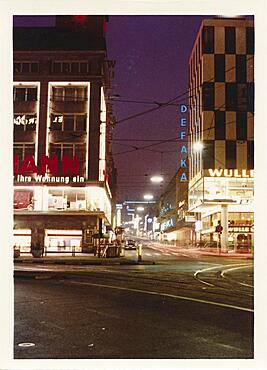 Night shot of Marienstrasse in the city centre of Stuttgart, Baden-Wuerttemberg, historical photo from 1963, Germany, Europe