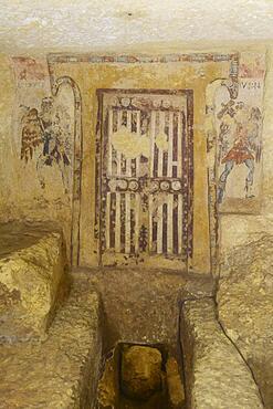 Tomba dei Caronti burial chamber with frescoes from 150, 125 BC, Etruscan Monterozzi necropolis, Tarquinia, Viterbo province, Lazio Latium region, Italy, Europe