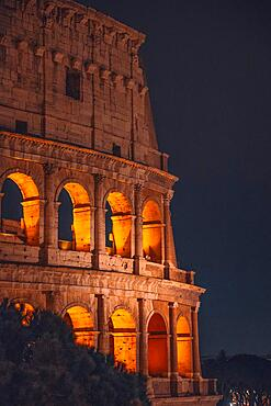 The Colosseum illuminated at night, Rome, Italy, Europe