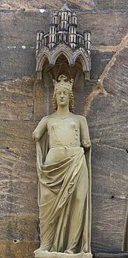 Sculpture on the prince's portal, Ecclesia, she stands for the church, Bamberg Cathedral, Bamberg Oberframnken, Bavaria, Germany, Europe
