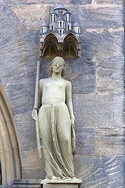 Sculpture of the synagogue, symbolic of Judaism, princely portal c. 1320, Bamberg Cathedral, Bamberg, Upper Franconia, Bavaria, Germany, Europe