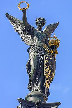Figure of Victoria on a war memorial, Nuremberg, Middle Franconia, Bavaria, Germany, Europe
