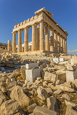 View of the Parthenon during late afternoon sunlight, The Acropolis, UNESCO World Heritage Site, Athens, Greece, Europe