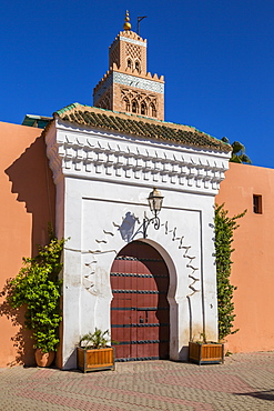 View of Minaret of Koutoubia Mosque, UNESCO World Heritage Site, Marrakesh, Morocco, North Africa, Africa