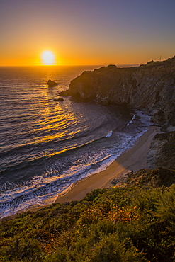 View of sunset at Big Sur, Highway 1, Pacific Coast Highway, Pacific Ocean, California, United States of America, North America