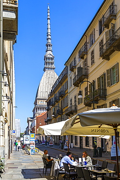 View of Mole Antonelliana and cafe, Turin, Piedmont, Italy, Europe