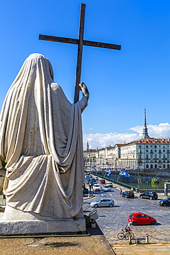 View of Pont Vittorio Emanuele from Church of Gran Madre Di Dio, Turin, Piedmont, Italy, Europe