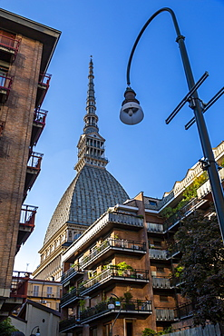View of Mole Antonelliana at sunset, Turin, Piedmont, Italy, Europe