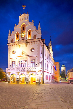 City Hall at dusk, Market Square, Old Town, Rzeszow, Poland, Europe
