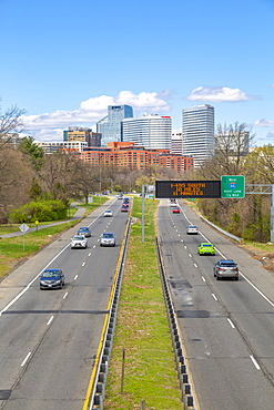View of North Rosslyn skyline and traffic on Richmond Highway, Washington D.C., United States of America, North America