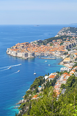 View of Old Walled City of Dubrovnik, UNESCO World Heritage Site, and Adriatic Sea from elevated position, Dubrovnik Riviera, Croatia, Europe