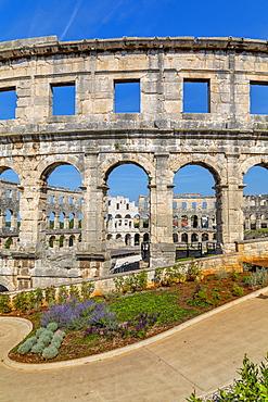 View of the Roman Amphitheatre, Pula, Istria County, Croatia, Adriatic, Europe