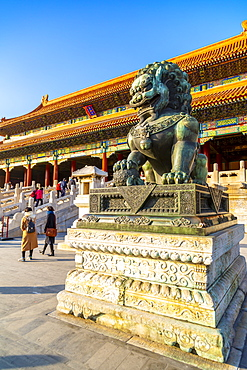 Dragon sculpture in the Forbidden City at sunset, UNESCO World Heritage Site, Xicheng, Beijing, People's Republic of China, Asia