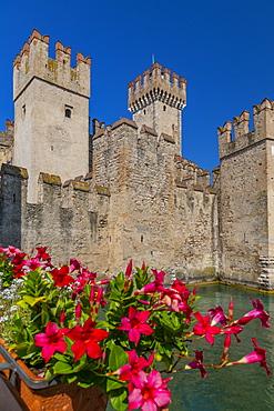 View of Castello di Sirmione on a sunny day, Sirmione, Lake Garda, Brescia, Lombardy, Italian Lakes, Italy, Europe