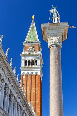 View of the Campanile and statue in St. Mark's Square, Venice, UNESCO World Heritage Site, Veneto, Italy, Europe