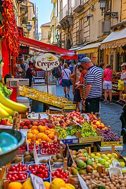 View of fruit stall on busy Via S Cesario, Sorrento, Campania, Italy, Europe