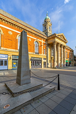 View of Peterborough City Council and War Memorial on Bridge Street, Peterborough, Northamptonshire, England, United Kingdom, Europe