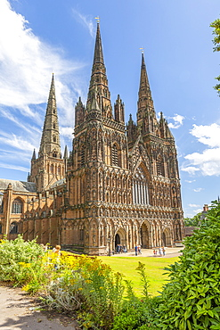 View of Lichfield Cathedral West facade, Lichfield, Staffordshire, England, United Kingdom, Europe
