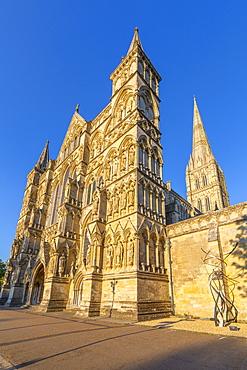 View of Salisbury Cathedral against clear blue sky, Salisbury, Wiltshire, England, United Kingdom, Europe