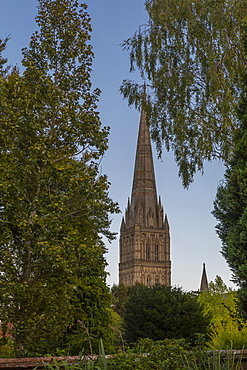 View of Salisbury Cathedral from the Town Path, Salisbury, Wiltshire, England, United Kingdom, Europe