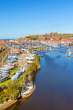 View of Whitby and River Esk from high bridge, North Yorkshire, England, United Kingdom, Europe