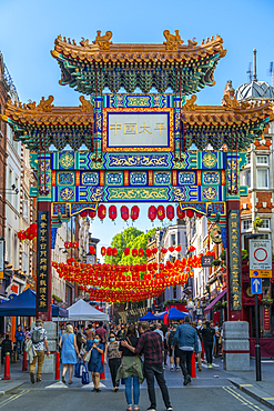 View of colourful Chinatown Gate to Chinatown, London, England, United Kingdom, Europe - 844-23664