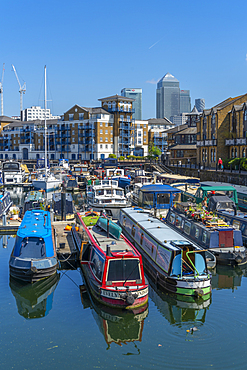 View of canal boats in the marina at the Limehouse Basin and Canary Wharf in background, Limehouse, London, England, United Kingdom, Europe - 844-23666