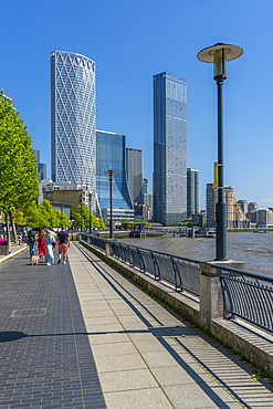 View of Thames Path and Canary Wharf, Limehouse, London, England, United Kingdom, Europe - 844-23668