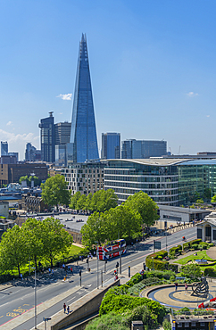 View of the Shard and Tower of London from rooftop bar, London, England, United Kingdom, Europe