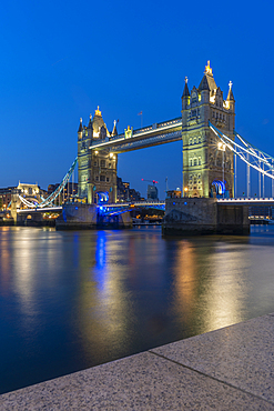 View of Tower Bridge and river Thames at dusk, London, England, United Kingdom, Europe
