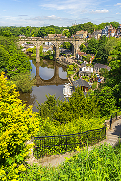 View of Knaresborough viaduct and the River Nidd from path leading to the Castle, Knaresborough, North Yorkshire, England, United Kingdom, Europe
