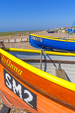 View of colourful fishing boats on Worthing Beach, Worthing, Sussex, England, United Kingdom, Europe