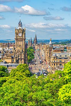 View of Balmoral Hotel and Princes Street from Calton Hill, Edinburgh, Scotland, United Kingdom, Europe