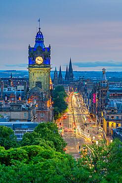 View of Balmoral Hotel and Princess Street from Calton Hill at dusk, Edinburgh, Scotland, United Kingdom, Europe