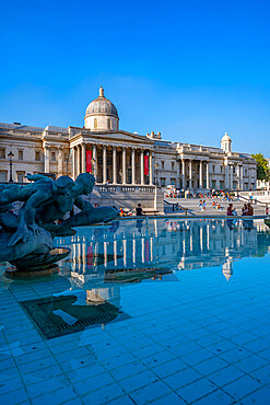 View of The National Gallery and fountains in Trafalgar Square, Westminster, London, England, United Kingdom, Europe