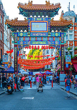 View of colourful Chinatown Gate in Wardour Street, West End, Westminster, London, England, United Kingdom, Europe