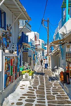 View of shops in narrow street in Mykonos Town, Mykonos, Cyclades Islands, Greek Islands, Aegean Sea, Greece, Europe