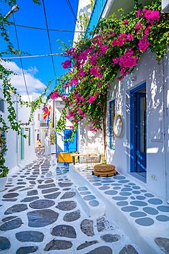 View of white washed narrow street, Mykonos Town, Mykonos, Cyclades Islands, Greek Islands, Aegean Sea, Greece, Europe
