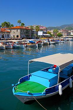 Harbour and boats, Marmaris, Anatolia, Turkey, Asia Minor, Eurasia