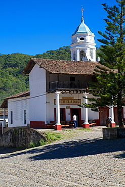 View of town and Church Belltower, San Sebastian del Oeste (San Sebastian), Jalisco, Mexico, North America
